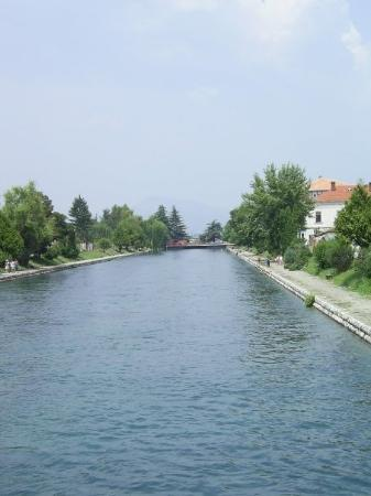 Looking north on Black River in Struga from one of the many bridges.