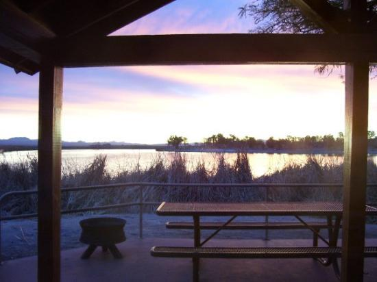 Phoenix, AZ: Sunrise on Rope Lake, view from our cabin.