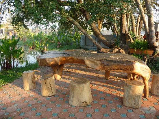 Secret Garden Chiang Mai: Peter's table made from the root of a tree