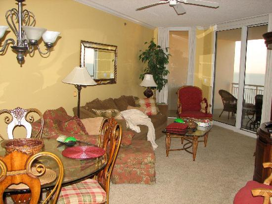 Palacio Condominiums: the living room area...lived in!