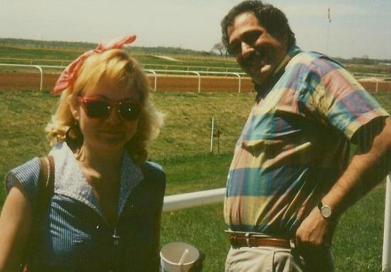 Sallisaw, OK: me & bobby at blue ribbon downs, 1987