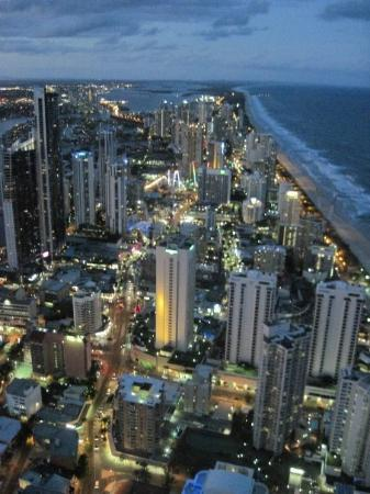 Surfers Paradise, Australia: From Q1 Observation Deck. This is just as it started to get dark.  One of my favorite parts of t