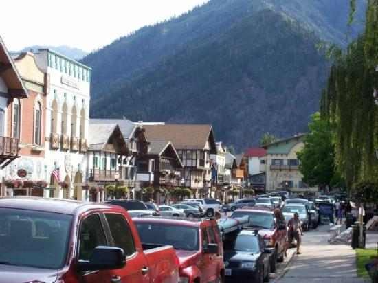 Looking from the corner at the Bavarian Village in Leavenworth