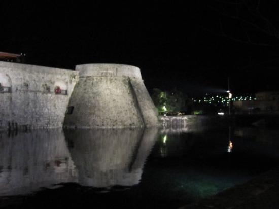 Kotor, Montenegro: City wall at night.
