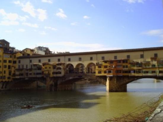 Ponte Vecchio. This bridge is covered in jewelry stores, and people actually live on it.