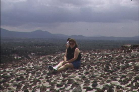 Teotihuacan: I finally reached the top of the pyramid.