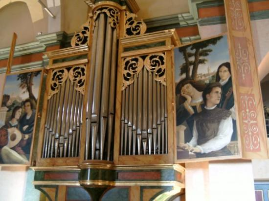 Church organ and paintings in Mougins church.