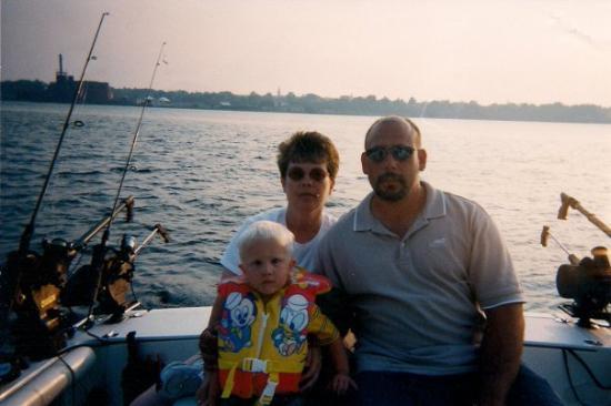 Ludington, MI: Hubby and me with Joshua on Lake Michigan