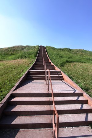 Collinsville, IL: The stairs to the top of Monks Mound