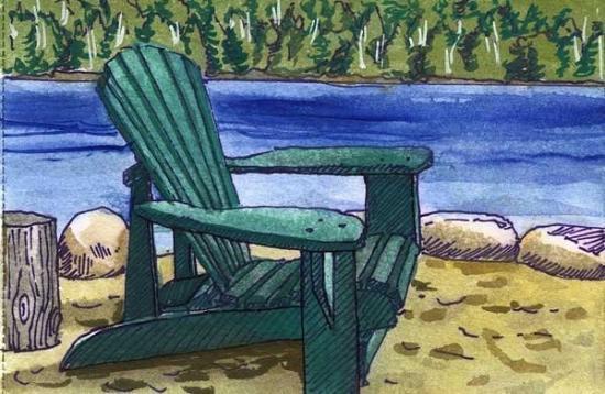 Indian Lake, NY: Adirondack chair by lake