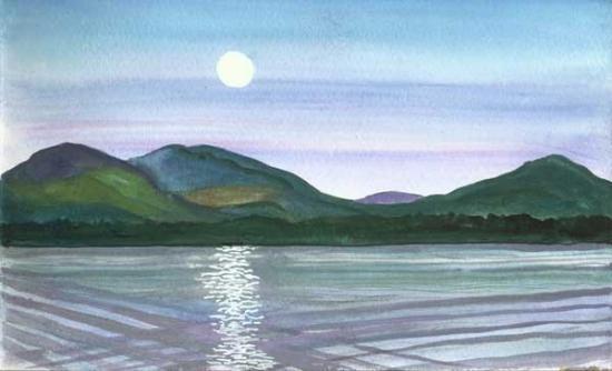 Indian Lake, NY: Moonrise by twilight