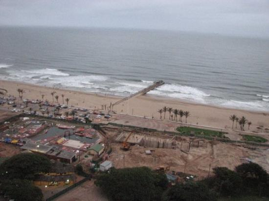 Durban beach seen from or 20th floor window of the hotel.  It's under development for the upcomi