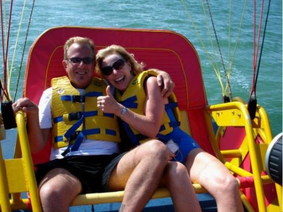 Water Sports In Cancun: Para-sailing with Mary. Wow, this was fun!!