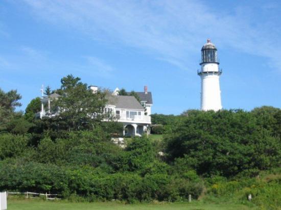 Cape Elizabeth Light in Cape Elizabeth Maine. First built in 1829. Replaced in 1874. Beach view.