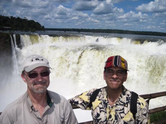 Foz do Iguacu, PR: Joe and Jay at Iguazu Falls.  Brazil on left, Argentina on right.