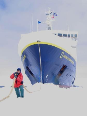"""Paradise Harbour: Someone has to do it!   This is me """"pulling"""" the ship across the fast ice."""