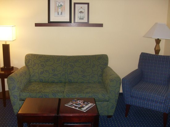 SpringHill Suites Sacramento Airport Natomas: pull out sofa near door. Nice desk and wetbar with microwave and minifridge