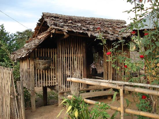Pai, Thailand: nature leaving  bamboo hut ,dry leaf loft,on the ground