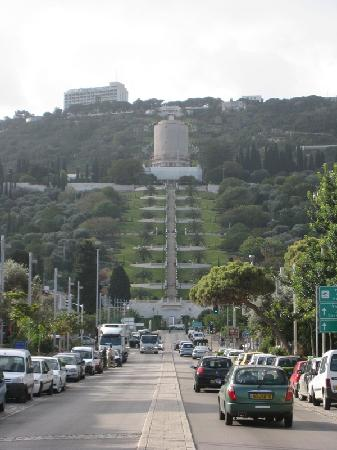 The Colony Hotel Haifa: In front of the Hotel looking to the Baha'i Gardens