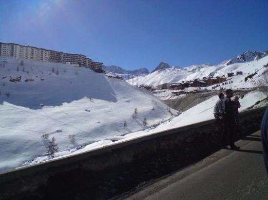Just as we spot Tignes, the road is hit by an avalanche so we all stood around for a while!