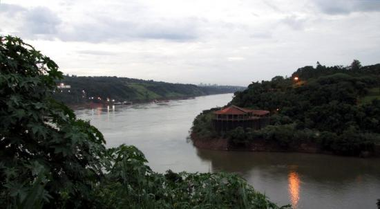 Puerto Iguazu, Argentina: From Argentina:  Brazil to the right.  Paraguay to the left.