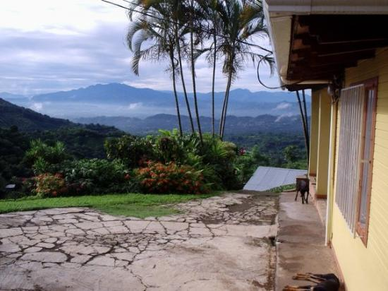 "Atenas, Costa Rica: Front corner of the house, looking out to the valley with our favorite little ""tico"" dog, Skinny"