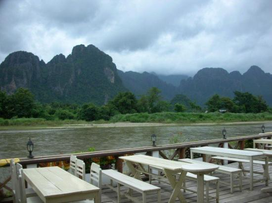 View of the Nam Song river from our $10 resort in Vang Vieng