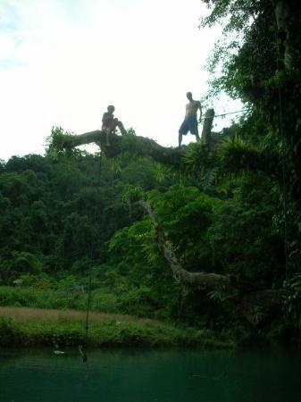 Vang Vieng, Laos: Tandem Back-flips off the top ropes?