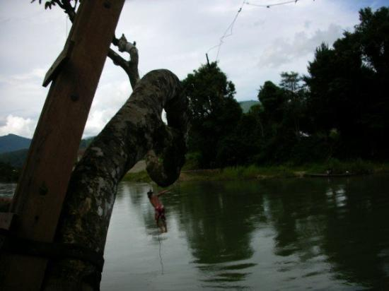 Vang Vieng, Laos: Bad perspective, but good back-flip.