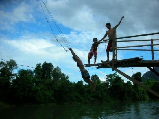 Vang Vieng, Laos: I think they meant to go tandem here...she got away