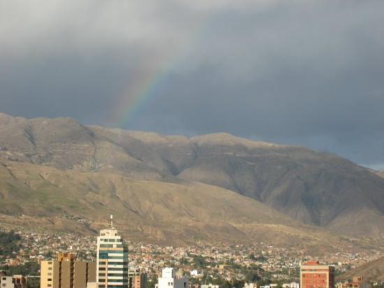 Cochabamba, Bolivia: Rainbow over the city