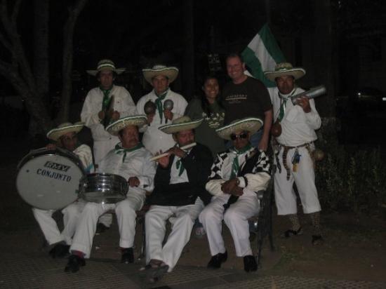 Santa Cruz, Bolivia: Me and my wife in Plaza24 de Septiembre with tamboritia.May, 2008