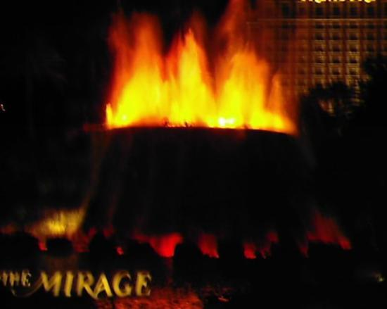 Mirage Volcano: The Mirage waterfall when it turns into the volcano at night.