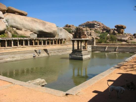 Hampi, India: a large open tank opposite to krishna temple