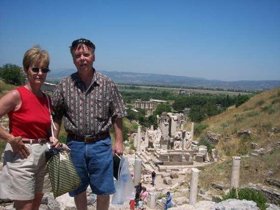 "Kusadasi, Tyrkia: Colene & Ron at entrance to Ephesus, one of the ""Seven Churches"" in Turkey Paul wrote to."
