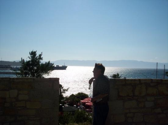 "Old ""Salts"" never die.  They just pine for the sea.  Ron atop the castle. Kusadasi, Turkey"