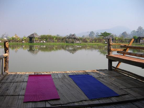 Bueng Pai Farm: Yoga on the deck of our bungalow