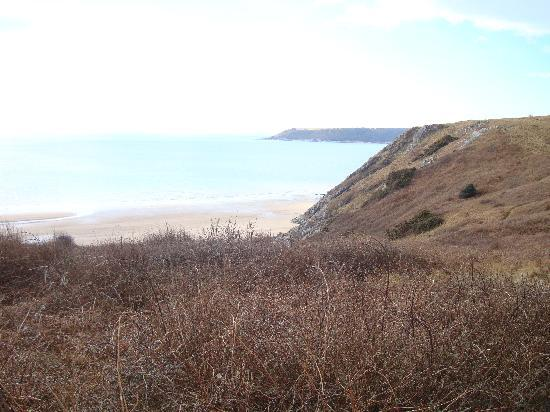 Parc-Le-Breos Guest House: View of Three Cliffs Bay - Taken on horseback