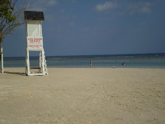Grand Bahia Principe Jamaica: Left side of beach....shallow coral snorkeling spot! Very good!!