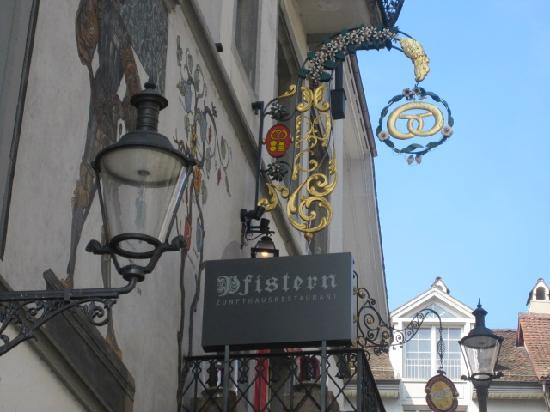 Hotel Krone Luzern: Hotel sign from the square