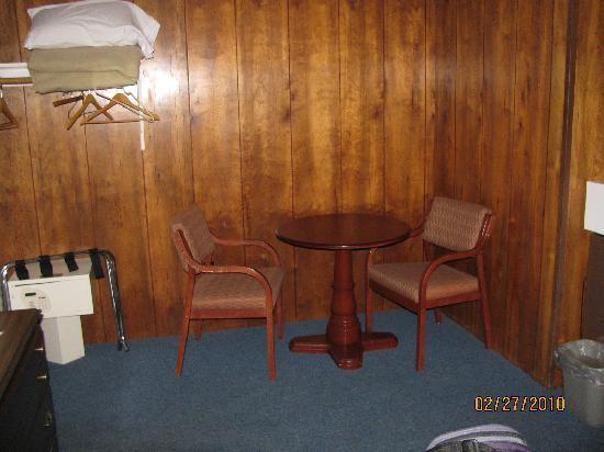 "Rodeway Inn Lee: ""closet"" and table--dark corner"