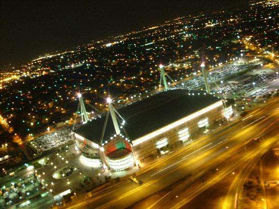 Hemisfair Park: veiw of the Alamodome from the Towers of Americas
