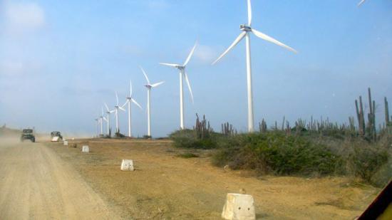 Oranjestad, Aruba: Tomcatting down past the windfarm on way back from Baby Beach.