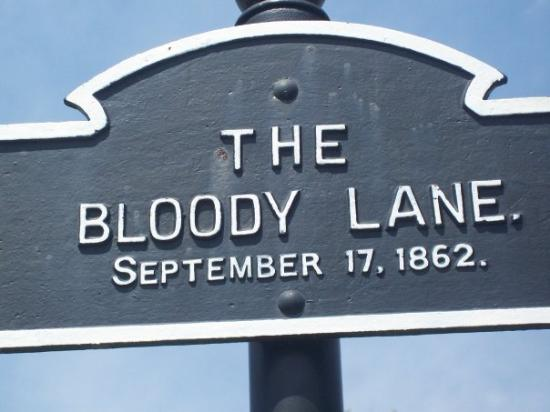 Sharpsburg, MD: A marker denoting the start of the Bloody Lane.