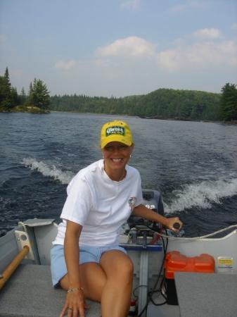 """Algonquin Provincial Park, Canada: Paula driving, I think the proper name for an undertaker's boat should be """"The Irish Wake"""""""