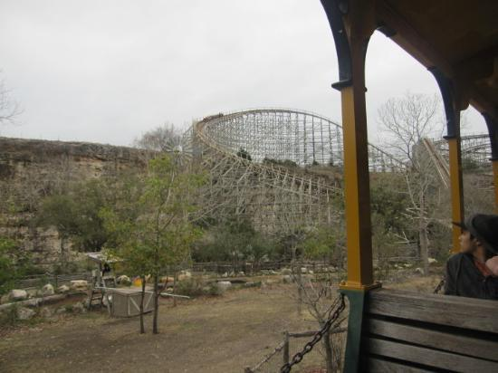 Six Flags Fiesta Texas: The Rattler coming over the hill on the hill.