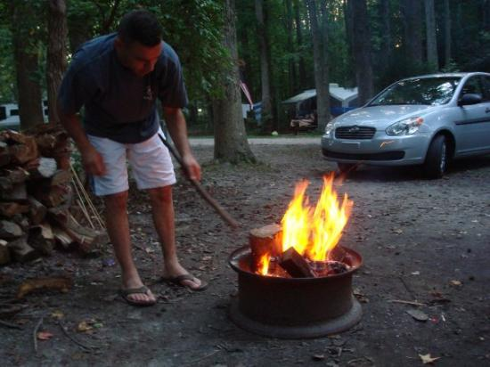 North Wildwood, NJ: This is his favorite part about camping.  The bigger the fire the better!