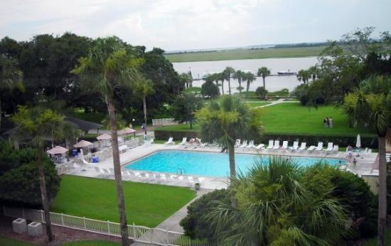 The view from our room. That's the historic Jekyll Island Wharf on the river in the distance and