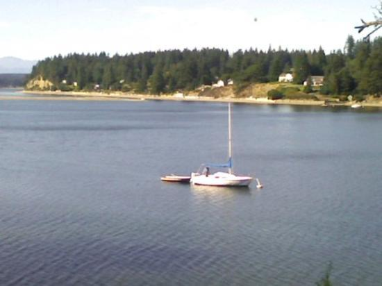 sailboat in Vaughn bay from crawf's house