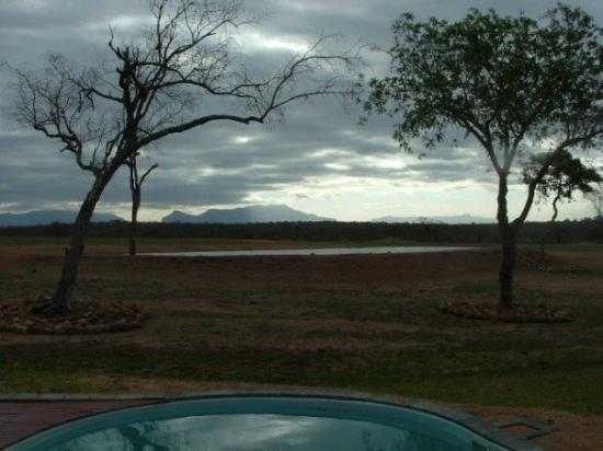 Thornybush Private Game Reserve, Sør-Afrika: The Drakensburg Mountains in the distance.